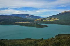 Lake Rotoiti, view from Mt Robert. Lake on the south Island of New Zealand. Turquoise Lake Rotoiti. St Arnaud, small village. View from Mt Robert Royalty Free Stock Image