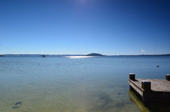 Lake Rotorua.Prichal. New Zealand. Royalty Free Stock Photos