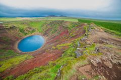 Lake in round volcano crater Stock Photography