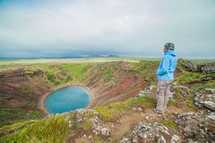 Lake in round volcano crater Royalty Free Stock Image