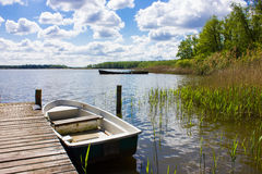 Lake with Row Boats Royalty Free Stock Photography