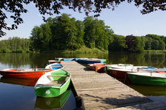 Lake with rowboats Royalty Free Stock Photography