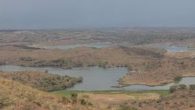 Lake in safari in Tanzania. Lake and rainy weather in safari in Tanzania, Africa stock footage