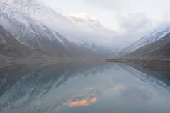 Lake Saif ul Malook and reflection of Malika Parbat in deep water Stock Images