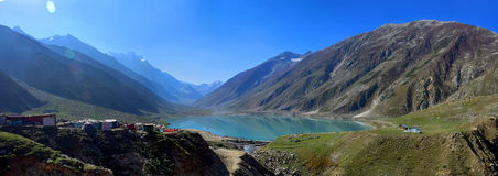 Lake Saiful Muluk Pakistan Panorama!. Saiful Muluk is a mountainous lake located at the northern end of the Kaghan Valley, near the town of Naran. It is in the royalty free stock photos