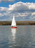 Lake Sailing. Red Sail Boat Royalty Free Stock Photography