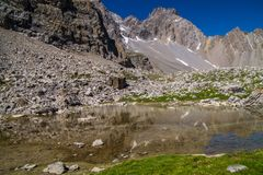 Lake sainte anne qeyras in hautes alpes in france. L qeyras in hautes alpes in france Royalty Free Stock Image