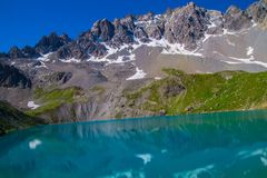 Lake sainte anne qeyras in hautes alpes in france. Qeyras in hautes alpes in france Royalty Free Stock Images