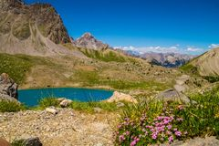 Lake sainte anne qeyras in hautes alpes in france. Qeyras in hautes alpes in france Royalty Free Stock Photos