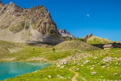Lake sainte anne qeyras in hautes alpes in france. Qeyras in hautes alpes in france Royalty Free Stock Photography