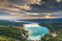 Lake Sainte-Croix at sunset Royalty Free Stock Photos