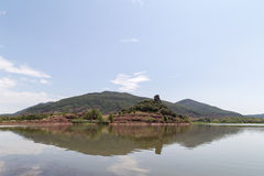 Lake Salagou with Red Rock, Hérault, Languedoc-Roussillon, France Royalty Free Stock Image
