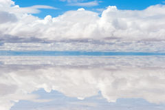 Lake Salar de Uyuni with thin layer of water Stock Photos