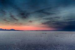Lake of Salt HDR. Sunset on the Bonneville Salt Flats in Utah Stock Photography