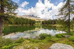 Lake San Pellegrino, Dolomites, Italy. Lake San Pellegrino during hot summer season, Dolomites, Italy Stock Image