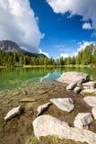 Lake San Pellegrino, Dolomites, Italy. Summer season on Lake San Pellegrino, Dolomites, Italy Stock Images