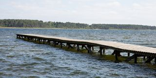 Lake of Sanguinet is the 2nd largest lake in France Travel and Vacation. Freedom Concept Stock Images