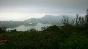 Lake. Saputara lake as viewed from atop table point in Saputara, India Stock Photo