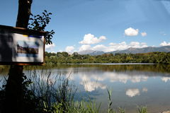 Lake Sartirana. Is a lake in Lombardy, between the Northern Regional Park and the Regional Park of Montevecchia and Valle di Curone, in the territory of Merate stock photography