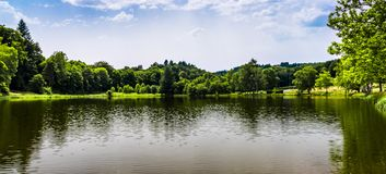 Lake of Sauviat. Lake in a small town in France Stock Photography