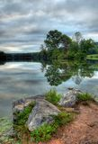 Lake Scene. View from the shoreline of Hopewell Lake, French Creek State Park, Pennsylvania (USA stock photos