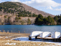 Lake scene with boats in Yumoto, Japan Stock Photography