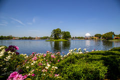 Lake scene in Epcot theme park in Florida Stock Photography