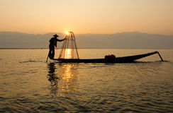 Lake scene with fisherman in Shan, Myanmar Stock Images