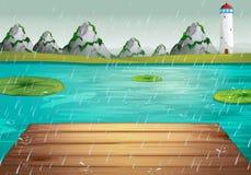 Lake scene during the rain vector illustration