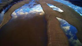 Lake scenery aerial view, flight stock video footage