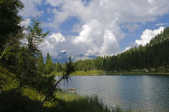 Lake scenery in the Italian Alps Royalty Free Stock Images