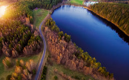 Lake scenery at sunset, aerial view royalty free stock photography