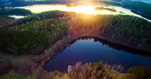 Lake scenery at sunset, aerial view Stock Image