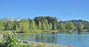 Lake Schwarzsee, Kitzbuehel, Tirol, Österrike Arkivbild