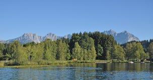 Lake Schwarzsee, Kitzbuehel, Tirol, Österrike Royaltyfria Foton