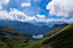 Lake Seealpsee in the Allgau Alps above of Oberstdorf, Germany. Royalty Free Stock Images