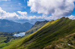 Lake Seealpsee in the Allgau Alps above of Oberstdorf, Germany. Royalty Free Stock Photo