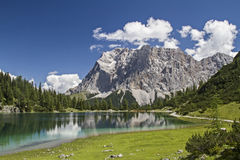 Lake Seeben and Zugspitze royalty free stock photography