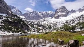 Lake Seebensee in Austria, Karwendel mountains stock video footage