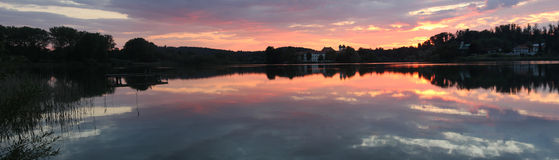 Lake seeon and cloister at sunset, panorama size Royalty Free Stock Photography