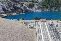 Lake Serre-Poncon, Power station, Hautes-Alpes, France royalty free stock photography