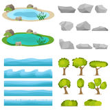 Lake, a set of stones, trees, a set of seascapes, a wave. Flat design, vector illustration, vector royalty free illustration