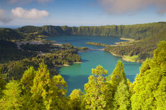 Lake of Sete Cidades on Azores, Famous caldera in Sao Miguel. Lake of Sete Cidades from Vista do Rei viewpoint in Sao Miguel, Azores royalty free stock photo