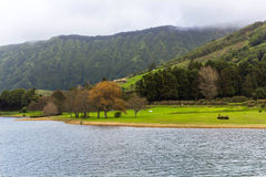 Lake Sete Cidades on the island Sao Miguel, the Azores Royalty Free Stock Photo