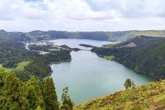 Lake of Sete Cidades on Sao Miguel island, Azores, Portugal royalty free stock photography