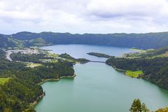 Lake of Sete Cidades on Sao Miguel island, Azores, Portugal stock image