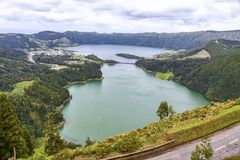 Lake of Sete Cidades on Sao Miguel island, Azores, Portugal. Picturesque view of the Lake of Sete Cidades `Seven Cities Lake`, a volcanic crater lake on Sao stock image