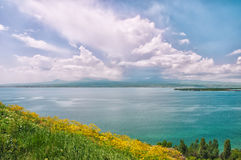 Lake Sevan in Armenia. View of the lake, the horizon and clouds. Yellow wildflowers Stock Photos