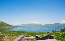 Lake Sevan in Armenia. View of the lake, the horizon and pure bright blue sky Stock Images