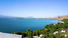Lake Sevan Scenery 01. Lake Sevan Scenery Common Picturesque View with Blue Sky Background stock video